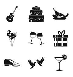 Binge icons set simple style vector