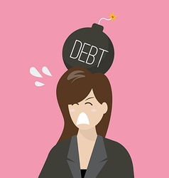 Business woman with debt bomb on her head vector