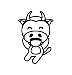 cartoon cow animal outline vector image vector image