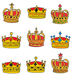 Doodle of gold crown elegant collection vector