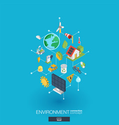 environmental integrated 3d web icons digital vector image vector image