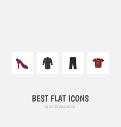 Flat icon clothes set of heeled shoe pants vector