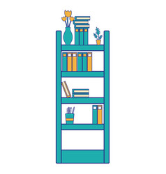 Full color education bookcase with folders vector
