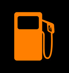 Gas pump sign orange icon on black background vector