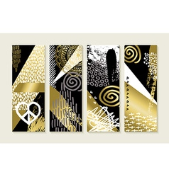 Gold hand drawn abstract art set vector image