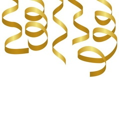 Golden party streamers carnival serpentine vector