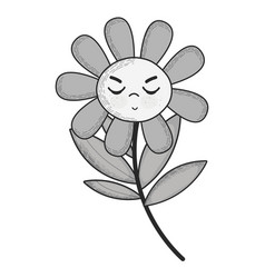 Grayscale kawaii angry flower plant with close vector