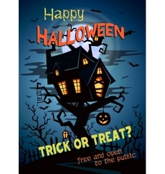 Halloween party background with castle silhouette vector image vector image