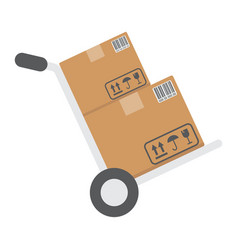 Hand truck with cardboard boxes flat icon vector