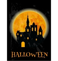 Haunted castle and full moon Halloween poster vector image