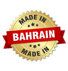 made in Bahrain gold badge with red ribbon vector image vector image