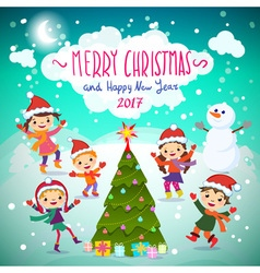 Merry christmas and happy new year 2017 winter fun vector