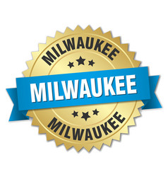 Milwaukee round golden badge with blue ribbon vector