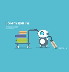 Modern robot porter artificial intelligence vector
