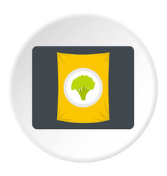 Packet of frozen broccoli icon circle vector