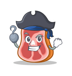 Pirate meat character cartoon food vector