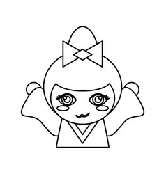 portrait kokeshi doll outline vector image vector image