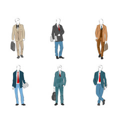six modern businessmen vector image vector image