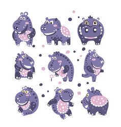 Stylized hippo with polka-dotted pattern set of vector
