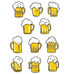tankards of beer vector image vector image