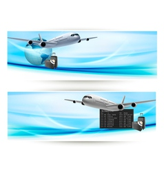 two travel banners with airline vector image vector image