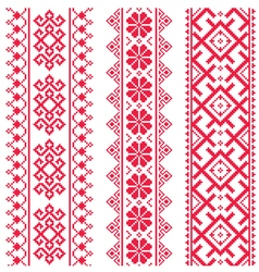 Ukrainian Belarusian red embroidery pattern vector image vector image