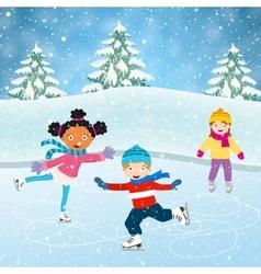 Winter scene with skating children vector
