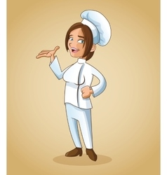 Woman girl chef kitchen restaurant design vector