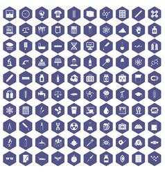100 laboratory icons hexagon purple vector