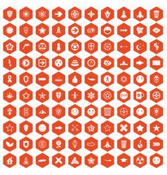 100 logotype icons hexagon orange vector