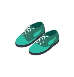 Turquoise shoes with laces icon isometric 3d style vector