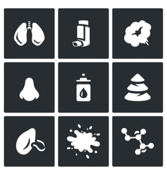 Set of respiratory disease icons lungs vector