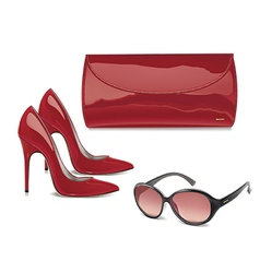 Pair of red patent leather female high-heeled shoe vector