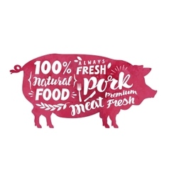 Meat fresh pork label silhouette pig vector