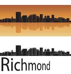 Richmond skyline in orange background vector