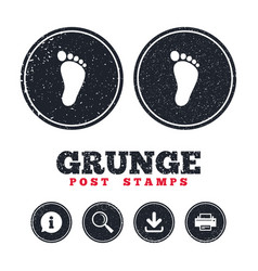 child footprint sign icon barefoot vector image