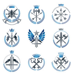 Vintage weapon emblems set heraldic signs vintage vector