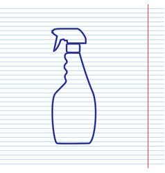 Plastic bottle for cleaning  navy line vector