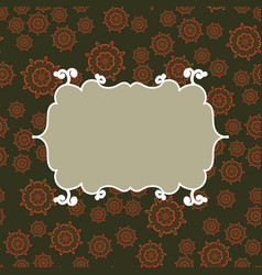 frame on seamless pattern background vector image