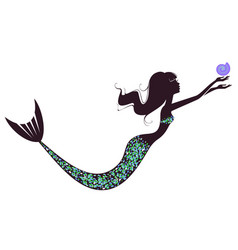 A mermaid silhouette with a shell vector