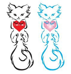 The design of the cute leze cat on backgroun vector