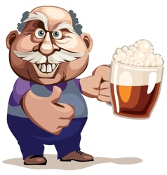 Senior man with beer vector