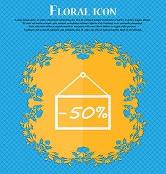 50 discount icon sign floral flat design on a blue vector