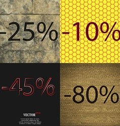 10 45 80 icon set of percent discount on abstract vector