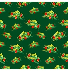 Seamless pattern with decorated fir-trees vector