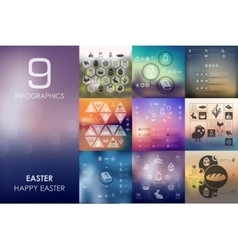 Easter infographic with unfocused background vector
