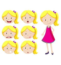 Cute girl with different facial expressions vector