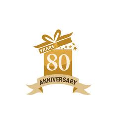 80 years gift box ribbon anniversary vector