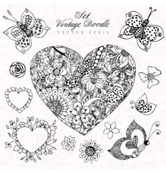 vintage heart set zentangl in vector image