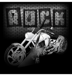 Motorbike and guitar on the brick wall vector